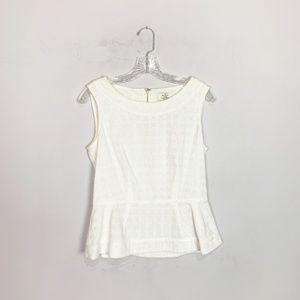 Kate Spade | eyelet white peplum hem blouse 6